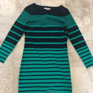 Banana republic green and black stripped dress XS